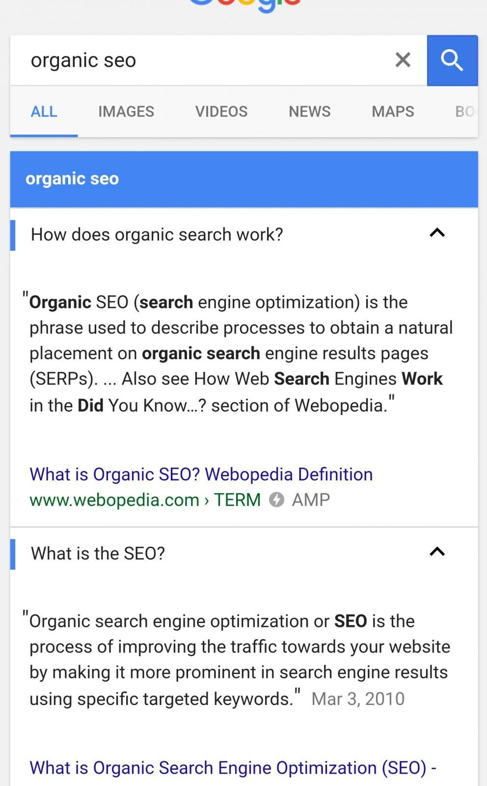 AMP results in search