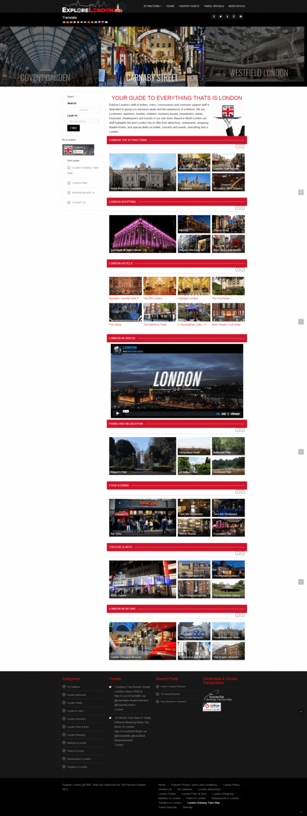Explore London Home Page