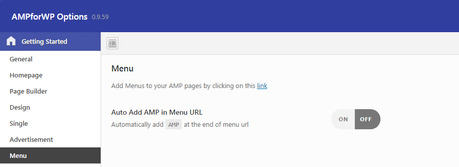 how to setup AMP menu in wordpress