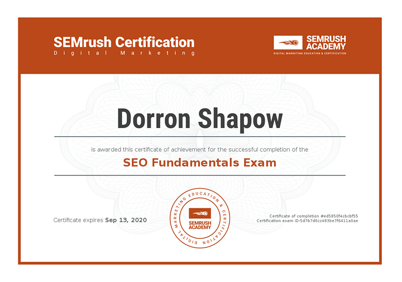 Certificate of SEO fundamentals SEMrush